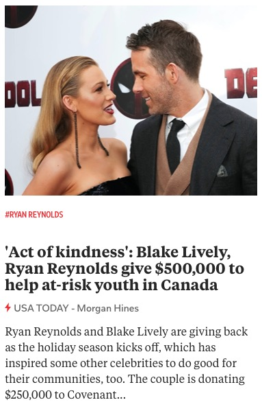 https://www.usatoday.com/story/entertainment/celebrities/2020/11/28/blake-lively-ryan-reynolds-donate-canada-covenant-house-youth/6450080002/